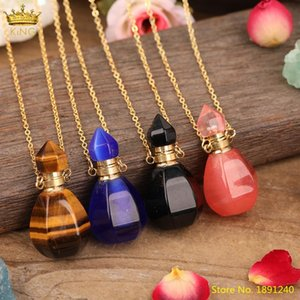 Top Quality Natural Tiger Eye Stone Essential Oil Diffuser Bottle Gold Chains Necklace For Women Gemstones Vial Jewelry Supplies Pendant Nec