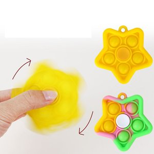 Fidgeting keychain Finger bubble music Silicone fingertip spinning top Unzip toy