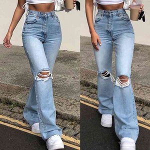 Women Vintage Ripped Flare Bell Bottom Jeans High Waisted Wide Leg Raw Hem Denim Pants Casual Slim Fitting Trousers with Y0320