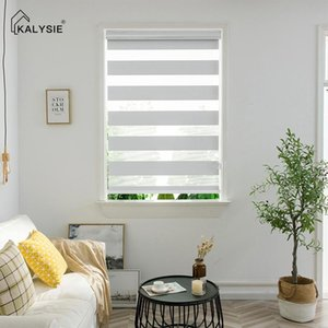 Blinds KALYSIE Zebra Roller Dual Layer Shade For Windows Day And Night Curtains East To Install