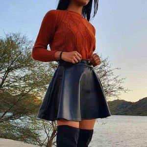 AprilGrass Brand Elegant Faux Leather Women Mini Skirt Low Waist A-line Female Black Short Skirts Party Club Ladies Skirts Bottoms