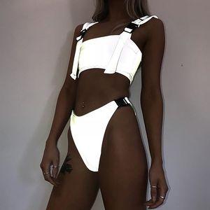 Women Adjustable Reflective Buckle Bandage Shorts Set Two Piece Womens Push-Up Buckle Beach Suit Beachwear Wholesale