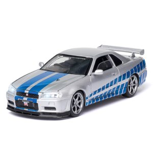 132 Nissan Skyline Ares GTR R34 Diecasts & Toy Vehicles Metal Toy Car Model High Simulation Pull Back Collection Kids Toys