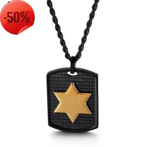 Designer Titanium Steel Jewelry Personality 316 Stainless Six Pointed Star Pendant Men's Shield Necklace Multicolor Available