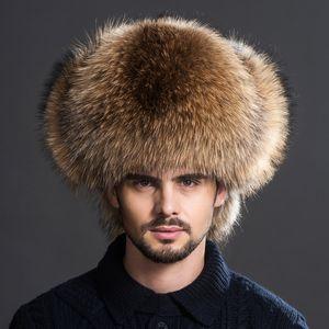Зимняя мужская 100% настоящая серебряная лисица меховой меховой авиатор бомбардировщик шляпа енота меха Ushanka Cap Trapper Русский человек лыжные шляпы шапки настоящая кожа