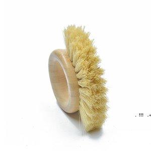 Wooden Handle Cleaning Brush Creative fruit Oval Ring Sisal Dishwashing Brushs Natural Bamboo Household Kitchen Supplies EWF6562