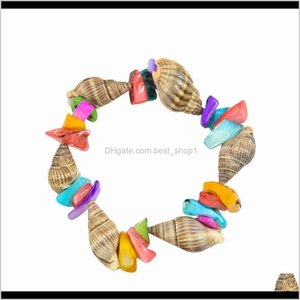 Decorations Seashell Conch Charm Handmade Rice Snails And Colorful Square Shell Bracelet For Women Men Kids Beach Jewelry Gift H Wmtjm Lon0M