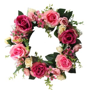 Artificial Rose Flower Wreath Door With Green Leaves Spring For Front Door, Wedding, Wall, Home Decor Decorative Flowers & Wreaths