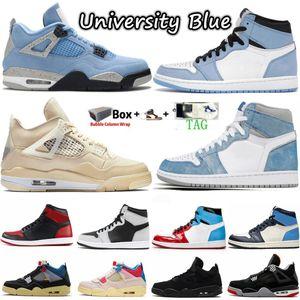 Mens 1 1S гипер королевская обувь обсидиана UNC 4 4s парусник университет синий поворот Что такое баскетбольная обувь белый oreo черный кот взрослый гуава ледяной женщины кроссовки