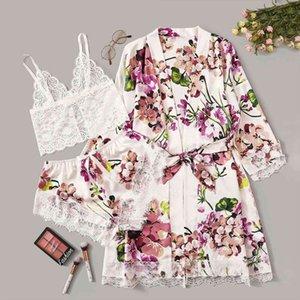 Sexy Pajamas Robe Pijama Lace Women Sleepwear Satin Silk Lingerie Fashion Flower Underwear Seda Verano Completi Con Vestaglia