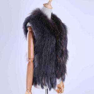 Coat Brand Women's Lady Genuine Real Knitted Rabbit Vests Tassels Raccoon Trimming Collar Waistcoat Fur Sleeveless Gilet