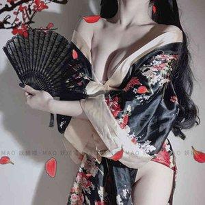 Japanese Kimono Sexy Lingerie Cosplay Outfit for Women Traditional Style Robe Yukata Costumes Pajamas Soft Silk Belt 3pcs Set K89