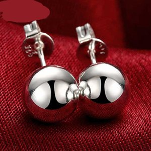 8 10 12mm Round Smooth Solid Bead Ball Stud Earrings For Women Wedding Engagement Party Jewelry