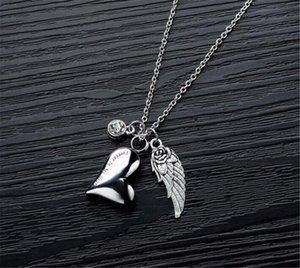 Оптом собака тега идентификатор карты из нержавеющей стали урна кулон ожерелье с кристаллическим камнем кристалл ангельский ангел крылья ясеня сердца мемориальная цепь серебристый