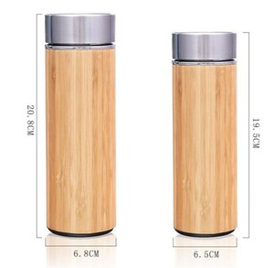 Bamboo Stainless Steel Water Bottle Insulated Coffee Travel Vacuum Cup With Tea Infuser Strainer Wooden Bottle DLH187