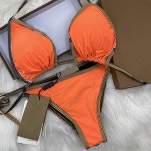 Maillot de bain Bikini Ensemble Orange Deux Morceaux Bikinis 2021 Bandage Sexy Push Up Maillots de bain Maillots de bain Maillots de bain Femmes Baignage Cuisson avec Tags