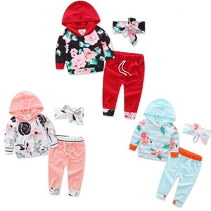 Toddler Baby Boy Girl Kids Cute Rainbow Print Long Sleeve Hoodie Tops+Pants+Headband 3pcs Set Autumn Winter Outfit Clothes 2020 Xmas Gifts