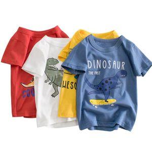 2-9 Years Kids T-Shirts Boys Clothes Cotton Short Sleeve Dinosaur Cartoon Pattern Children Tops Summer Clothing Tee