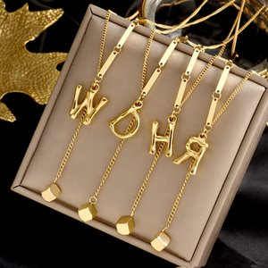 Personalized 26 Intial letter alphabet Constellation Pendant Necklaces Custom Stainless Steel gold color A-Z necklace chain fashion jewelry Gift