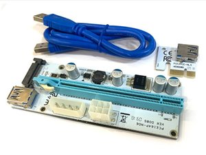 White Blue PCI-E 009s Card PCIE PCI E Extender USB 3.0 SATA to 6Pin Molex Adapter Cable Mining Riser For Video