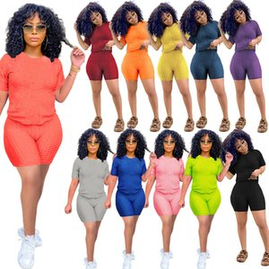 Летние Женщины Scepsuits Короткие рукава Футболка + шорты сплошной цвет 2 шт. Jogger наборы наборы йоги на облигателях тренажерный зал одежда плюс размер 836