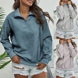 Womens Vintage Corduroy Felpe Stand Color Zip Up Pullover a maniche lunghe Autunno Inverno Casual Vestiti Abbigliamento Abbigliamento moda