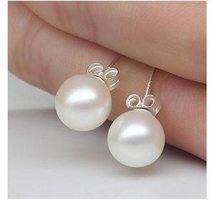 New Jewelry 6mm 8mm 10mm Pearl Earrings Stud 925 Sterling silver Earrings for Wedding Party Beige color 971 B3