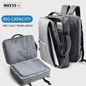 MOYYI Business Travel Double Compartment Backpacks Multi-Layer with Unique Digital Bag for 15.6 inch Laptop Mens Backpack Bags 210310