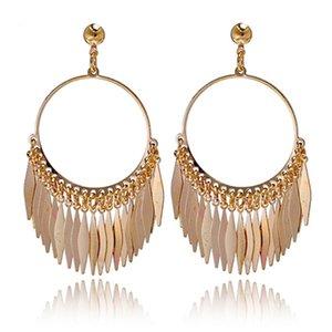 Arrival Bohemia Big Tassels Drop Dangle Golden Plated Hoop Earrings For Women Jewelry