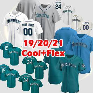 24 Ken Griffey Jr. Mariners Beyzbol Formaları Suzuki Ichiro Felix Hernandez Seattle Edgar Martinez Mitch Haniger Kyle Seager Marco Gonzales Özel Erkekler Jersey