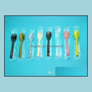 Other Kitchen Tools Kitchen, Dining Bar Home & Gardenwholesale 3000Pcs Disposable Plastic Cake Dessert Four Fork And Spoon Independent Packa