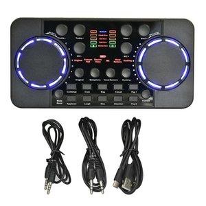 Cartes audio V300 PRO Card 10 effets Bluetooth Bruit Réduction Audio Mélangeurs audio Contrôle vocal micro pour téléphone PC