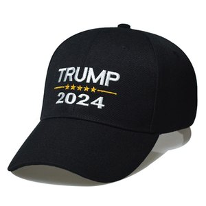 Trump 2024 Hat Trump Cotton Sunscreen Baseball Cap with Adjustable Buckles Embroidery Letters USA Cap Red and Black Color for Outdoor 754 T2