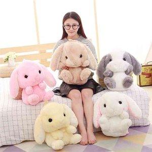 1 unids Bolsas de peluche de conejo encantadoras La bolsa de juguete de peluche de conejo de orejas loppy es una especie de peluche corto de mochila 210331
