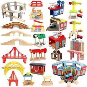 Wooden Train Kits Accessories, DIY Assembly Building Blocks, Educational Toy, Drawbridge, Parking Lot, Gas station, Crane, Compatible All Brands Wood Track, Boy Kid Gift