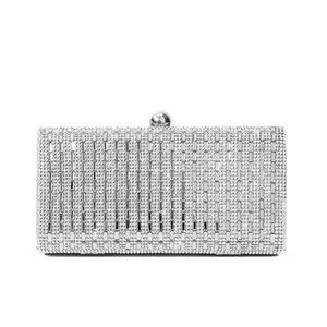 Luxury Evening Bags With Shiny Rhinestone Leather Box Bag Wedding Bride Clutch Bags Women Party Fashion Pouch Solid Purse Female Y0409