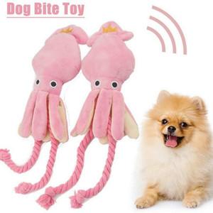 Cute Squid Pet Cat Dog Toy Octopus BB Plush Puppy Rope Pink Chew Squeak Toys