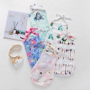 Baby Girl Romper Toddler Backless Halter Onesie Suspender Sling Jumpsuit Mermaid Cactus Floral Arrow Print Infant Outfit Kid Clothes Summer Clothing