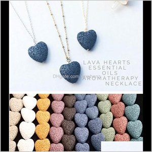 & Pendants Jewelry Drop Delivery 2021 Heart Lava Rock Pendant Necklace 9 Colors Aromatherapy Essential Oil Diffuser Heart-Shaped Stone Neckla