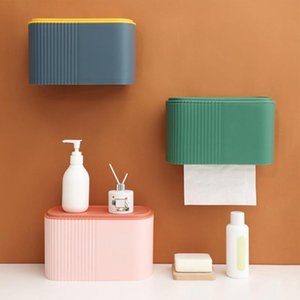 Tissue Boxes & Napkins 4 Colors Simple Sturdy Wear Resistant Toilet Paper Dispenser Box Easy Installation Napkin Wall Mounted For El