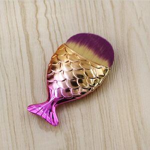 18 Farben 11 cm * 5,5 cm Meerjungfrau Oval Make-up Foundation Pinsel Gold Makeup Set Schönheitskosmetik Blush Pulver GWB6297