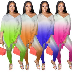 Women Two-piece Tye Dye Outfits Long Sleeve Printed Loose Top and Tight Pants Casual Maching Sets Wholesale Dropshpping F1216