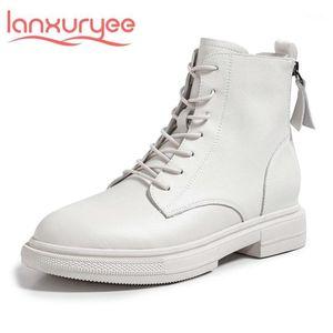 Lanxuryee 2021 Básico Split Couro Redondo Toe Med Heel Sapatos De Inverno Manter Quente Cross-Tied Jovem Jovem Dating Party Anchle Boots L2A1
