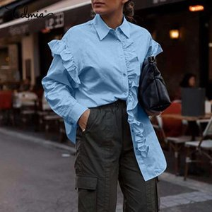 Women's Blouses & Shirts Celmia Fashion Women Ruffled 2021 Spring Ladies Office Tops Lapel Casual Long Sleeve Loose Buttons Blusas Femme