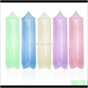 Summer Round Lace Insect Bed Canopy Netting Curtain Polyester Mesh Fabric Home Use Elegant Hung Dome Anti Mosquito Net 8 Color 9Agbe Lv4Yh