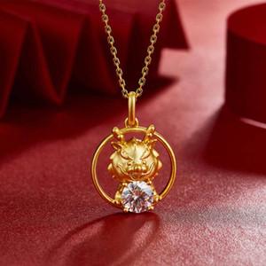 Pendant 12 zodiac dragon morsang Stone Necklace, antique gold S925 Silver