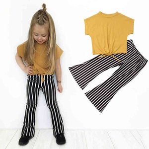 Toddler Kid Baby Girls Clothes Summer Top T-shirt+Striped Pants Leggings Outfits