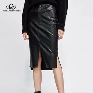 Skirts Herstory Women Autumn Sexy Split Straight PU Faux Leather Female Bodycon Casual Lady Midi Bottoms