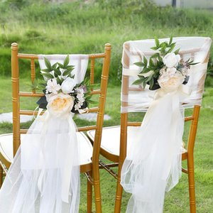 Creative Wedding Chair Cover Decorative Flowers Outdoor Photography Simulation Chair Back Flower Hotel ChairCover Decorations HHD1675