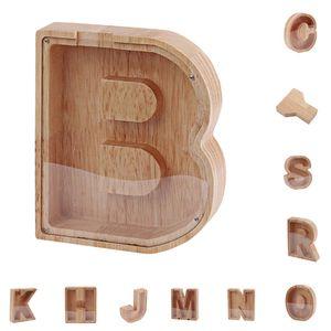 26 English Alphabet Piggy Bank Favor Creative Wooden Storage Box Acrylic Transparent Retro Desktop Decoration Festival Crafts